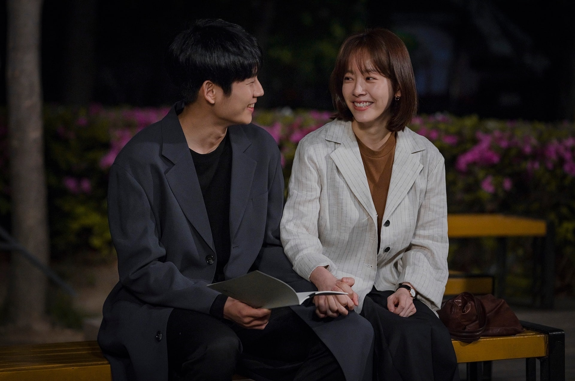 """Jung Hae In And Han Ji Min Share Sweet Moment In Behind-The-Scenes Stills  Of """"One Spring Night"""" Kiss – KDrama Fandom"""